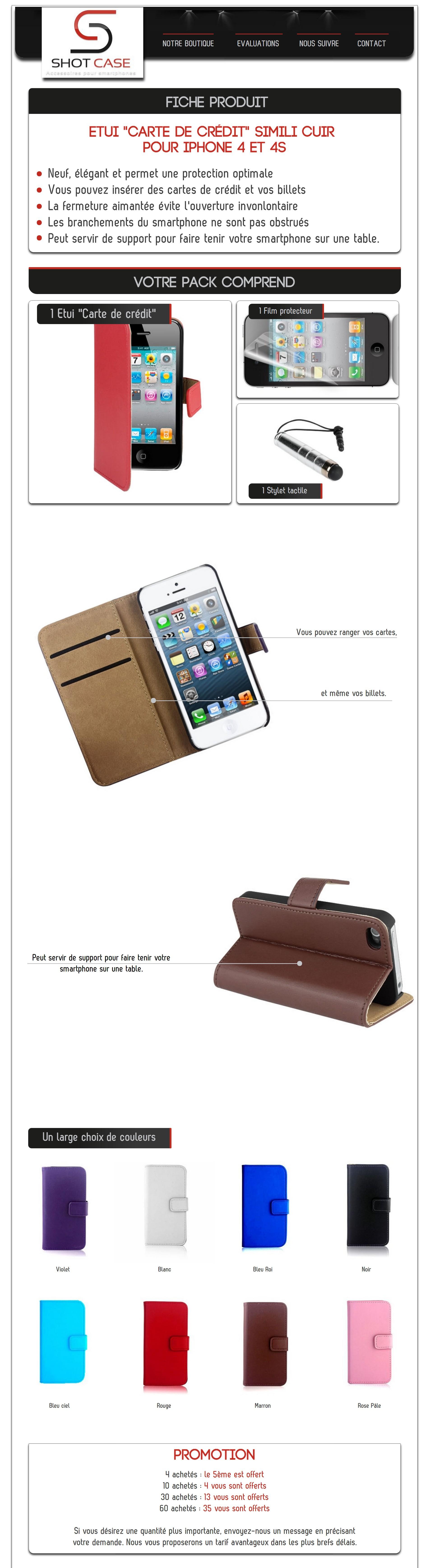 Etui porte feuille iphone 4 cuir (annonce)