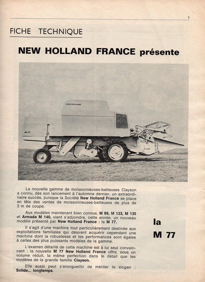 puissance new holland clayson 8050 année 1984