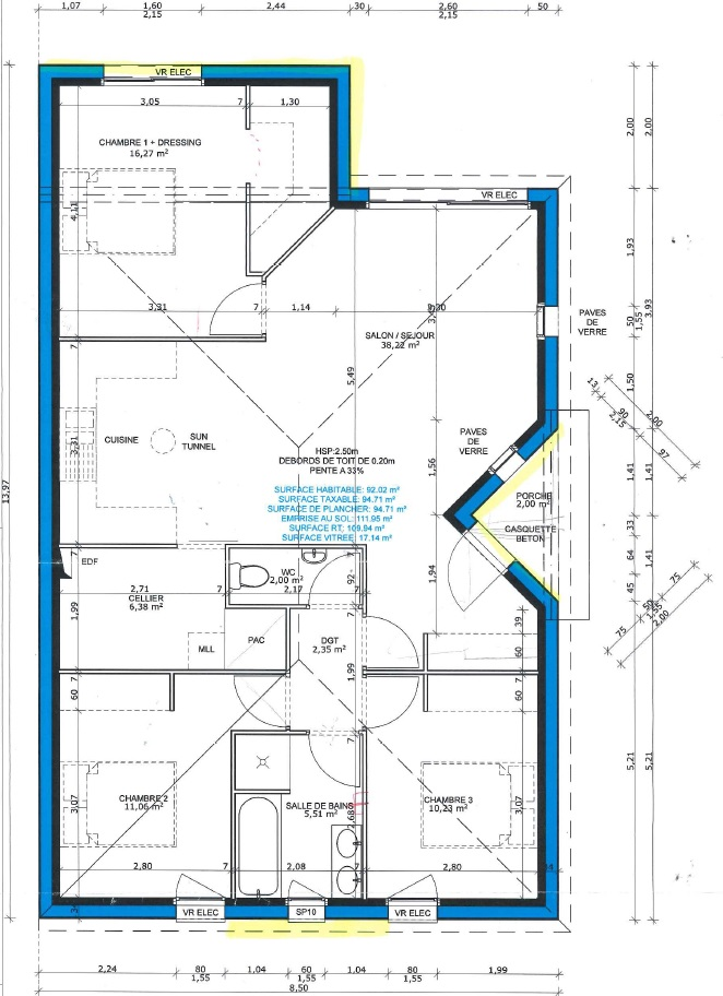 Maison plain pied avis sur plan constructeur de 92 m for Chambre sans fenetre surface habitable