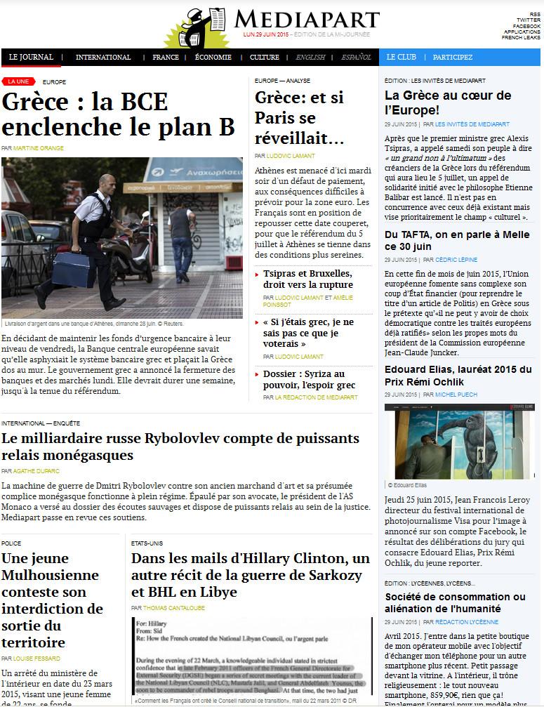 MÉDIAPART du Lundi 29 Juin 2015