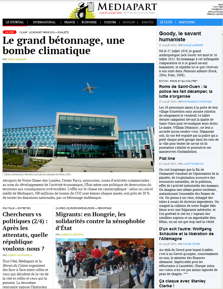 Médiapart Du 27 Juillet 2015