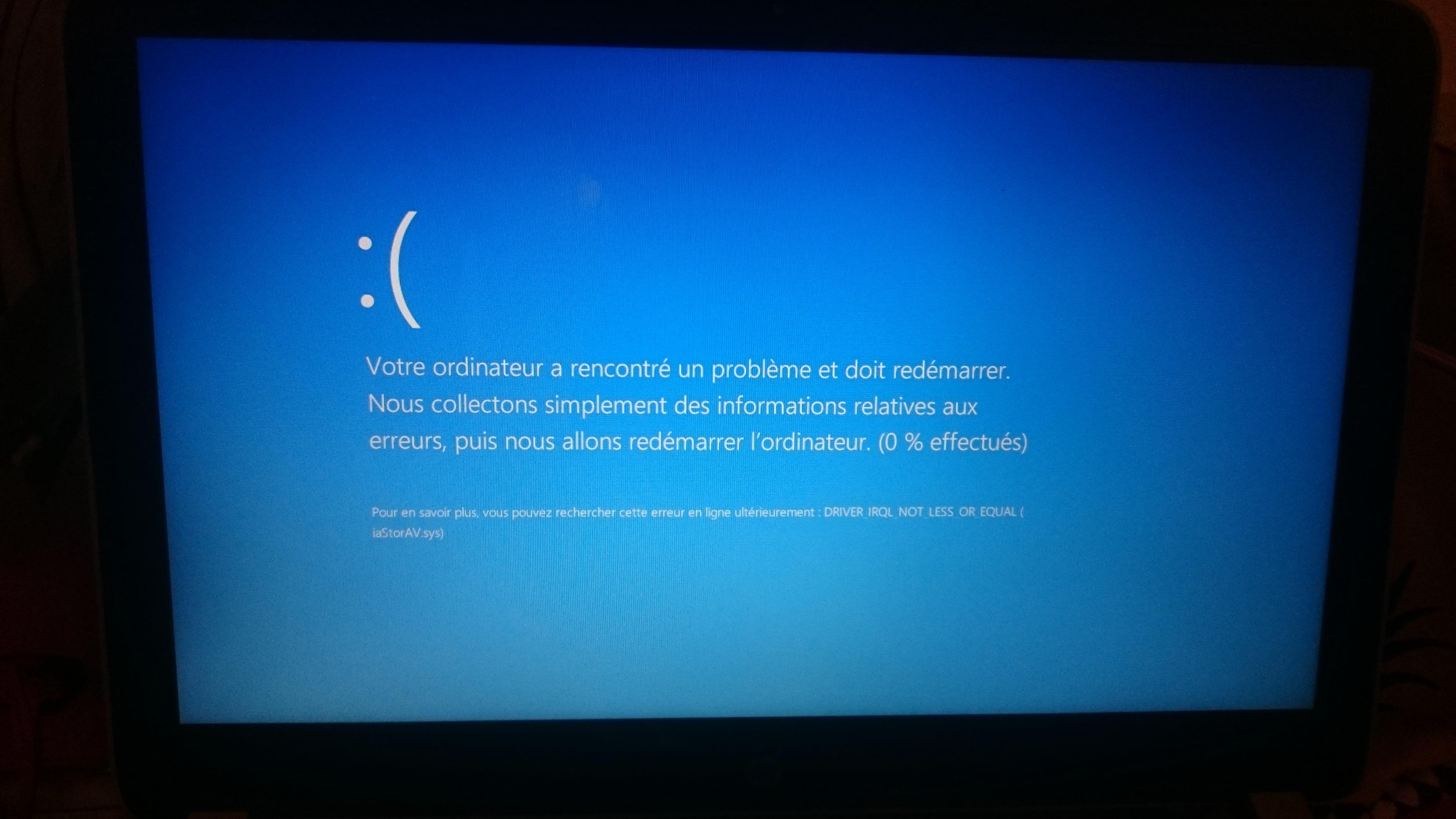 votre ordinateur a rencontré un problème et doit redémarrer nous collectons