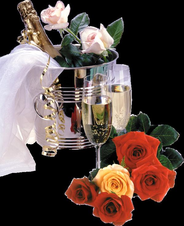 champagne et rose