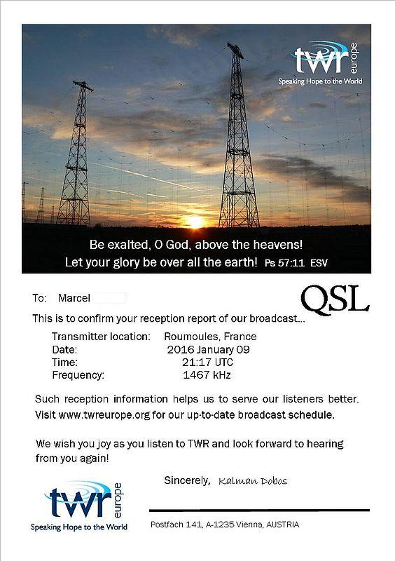 eQSL de TWR Europe 160210090251639244