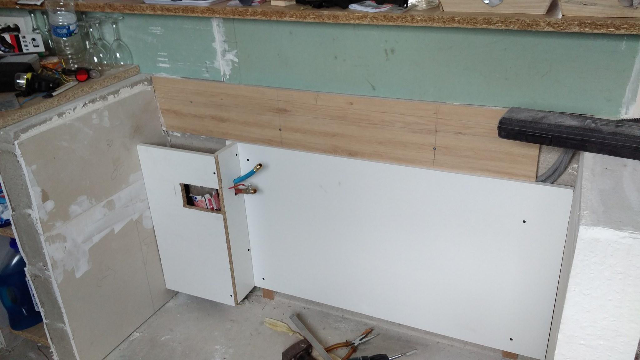 Cacher Plan De Travail Cuisine plan de travail à fixer sur muret pour cuisine americaine