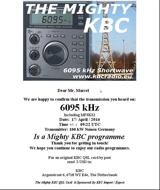eQSL de KBC 160418015340730536