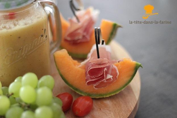 Smoothie Melon/Ananas/kiwi avec son jambon de parme