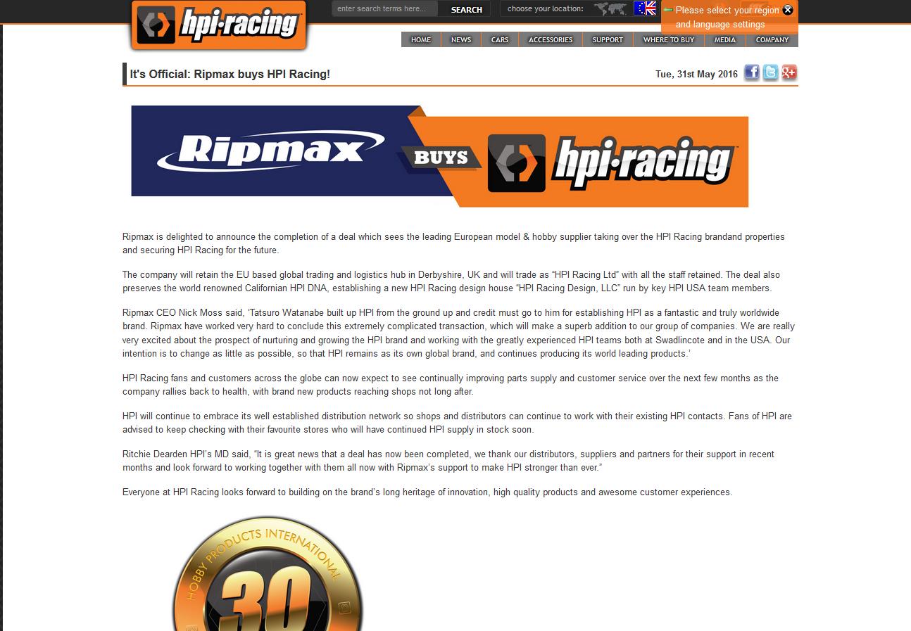 [RUMEUR]HPI racheté par Traxxas... Finalement c'est Ripmax ! - Page 2 160531060215119618