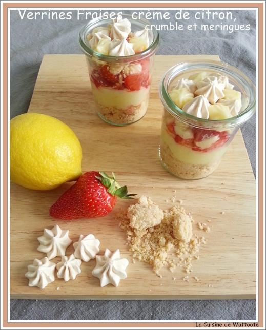 verrines fraise citron crumble meringues