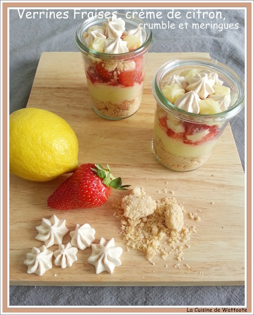 verrines fraise citron crumble meringues