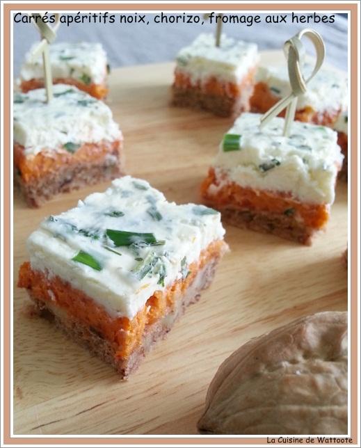 carrés noix chorizo et fromage herbes