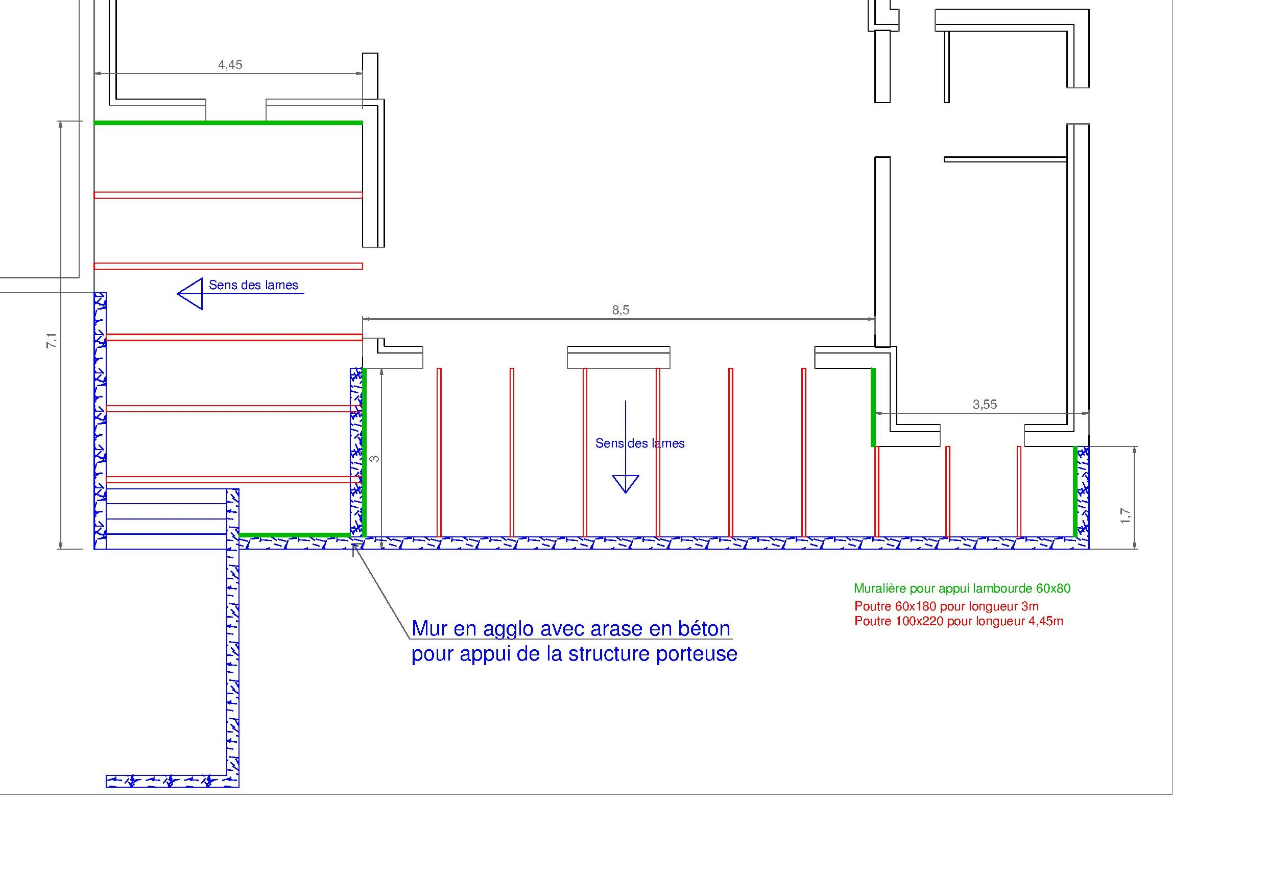 Plan structure terrasse bois
