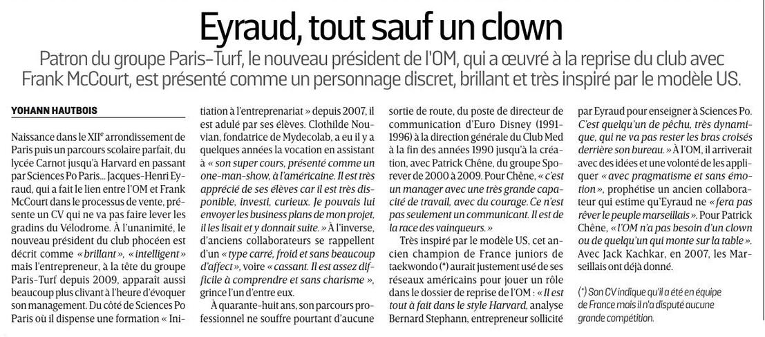 [Staff] Jacques-Henri Eyraud président directoire de l'OM 160910090618415807