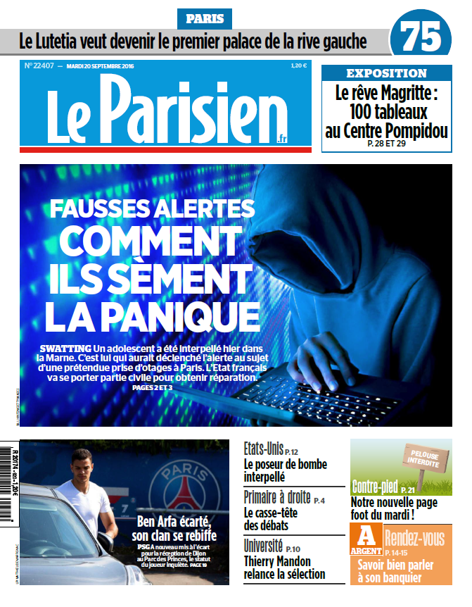 Le Parisien + Journal de Paris du Mardi 20 Septembre 2016