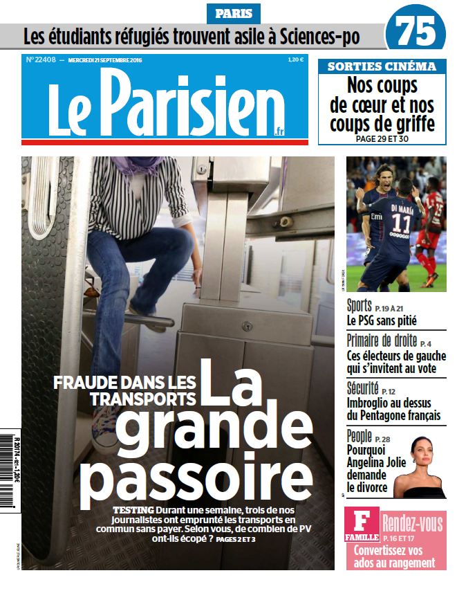 Le Parisien + Journal de Paris du Mercredi 21 Septembre 2016