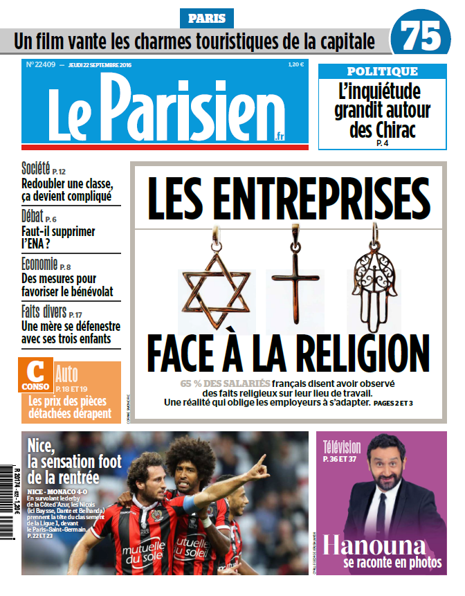 Le Parisien + Journal de Paris du Jeudi 22 Septembre 2016