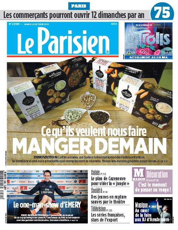 Le Parisien + Journal de Paris du Samedi 22 Octobre 2016