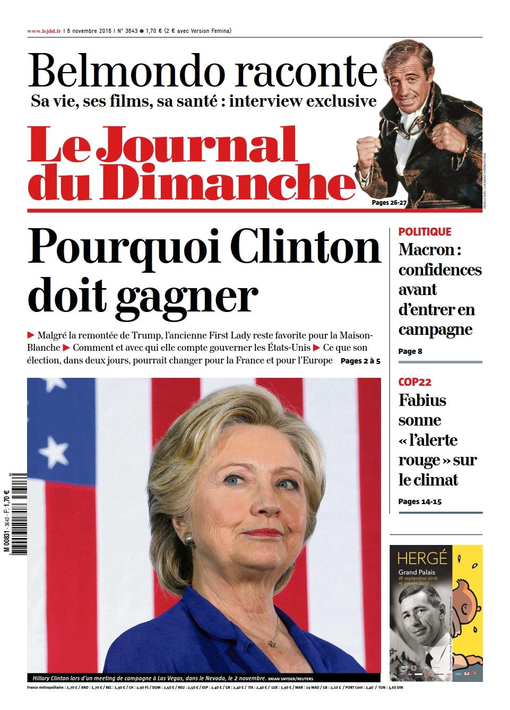 Le Journal du Dimanche 3643 du 06 Novembre 2016