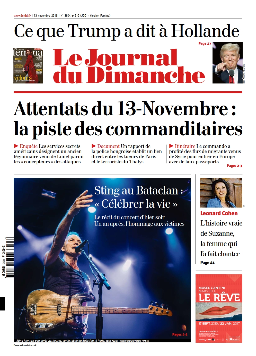 Le Journal du Dimanche 3644 du 13 Novembre 2016