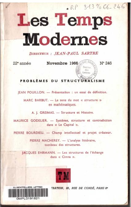 Article de Maurice GODELIER 1966 SYSTEME, STRUCTURE ET CONTRADICTION DANS LE CAPITAL