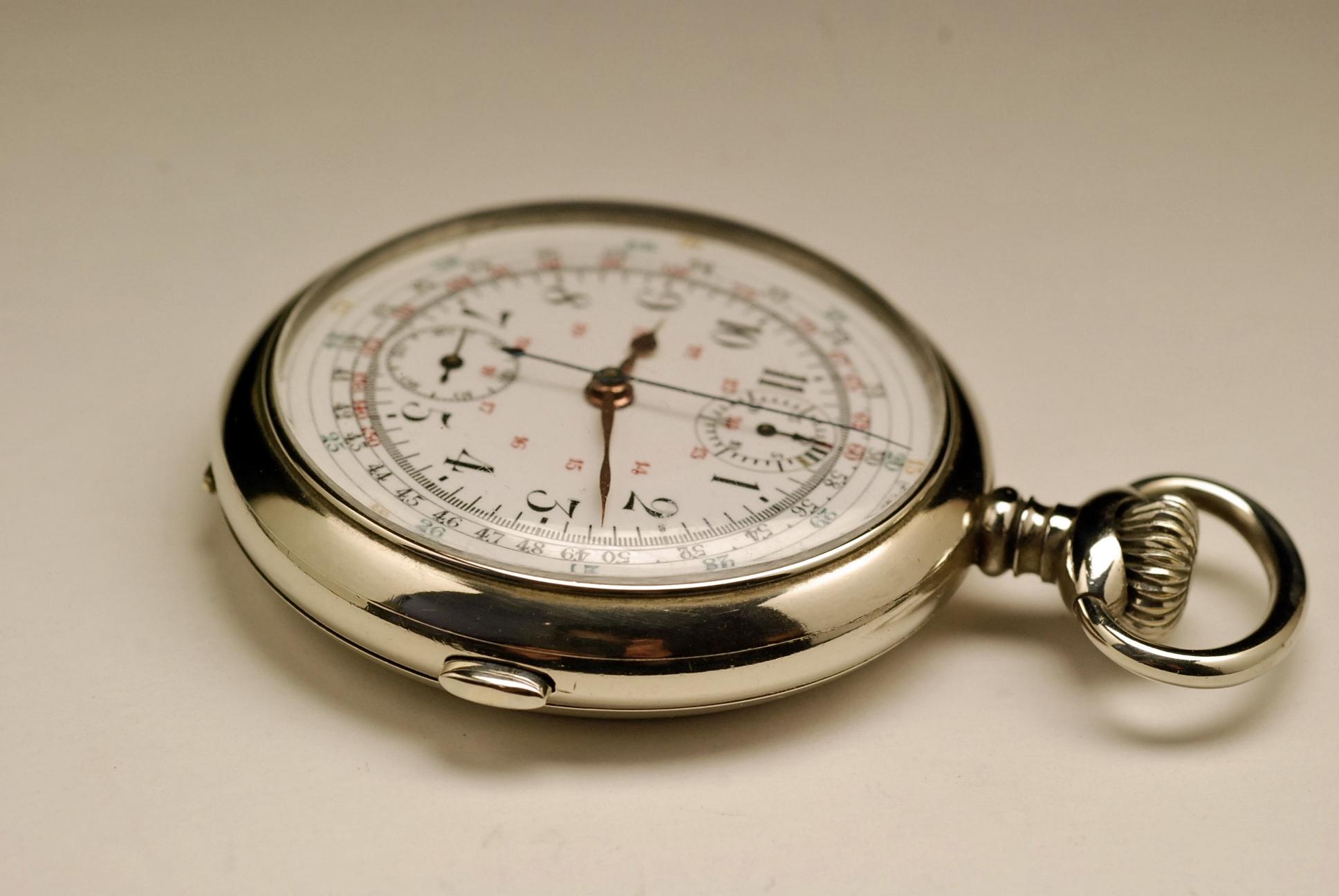 ancienne montre gousset chronographe valjoux 1910 vintage. Black Bedroom Furniture Sets. Home Design Ideas