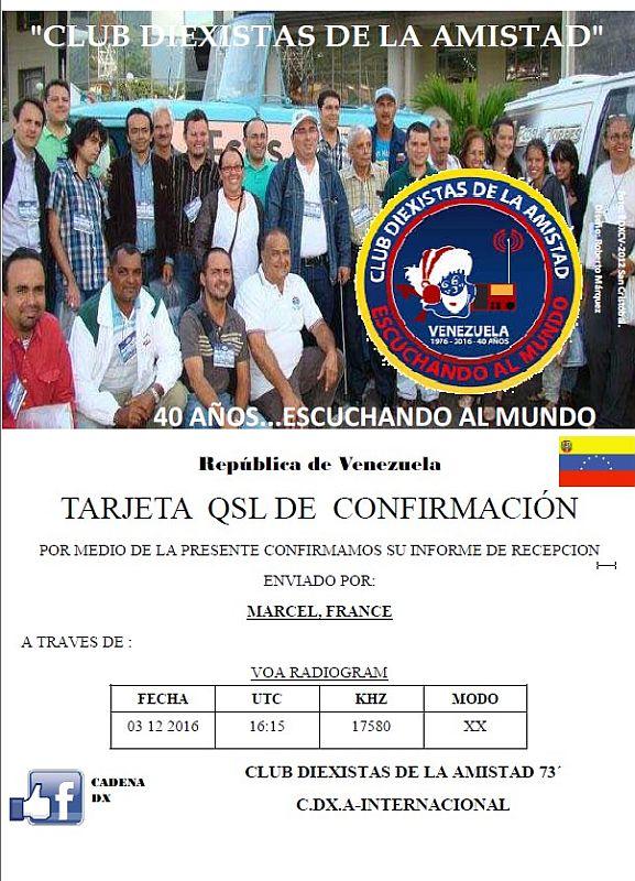 eQSL du DX Club Amistad du Vénézuela 161210015022308966