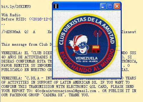 eQSL du DX Club Amistad du Vénézuela 161210020237943219