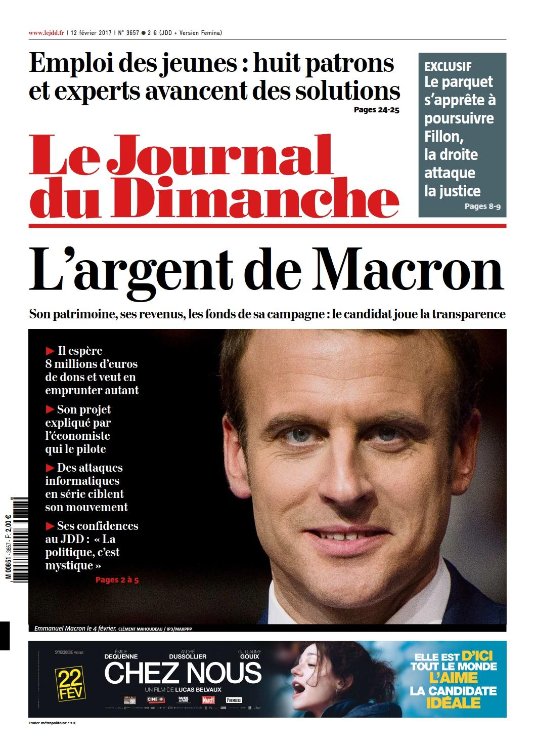 Le Journal du Dimanche n°3657 du 12 Février 2017