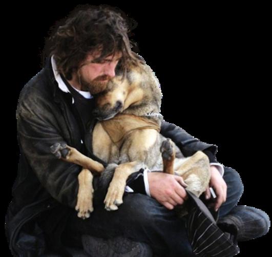 homme dans la rue avec son chien