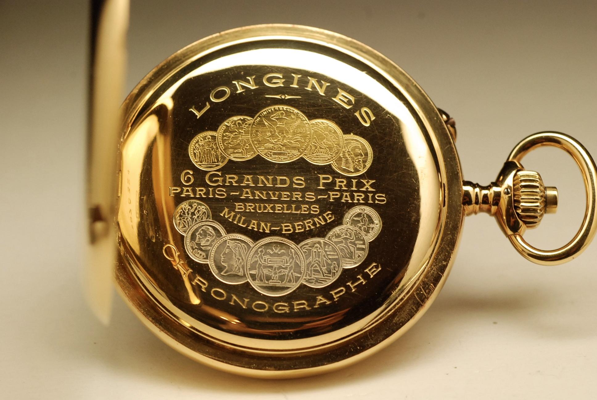 ancienne montre gousset longines chronographe 1912 en or. Black Bedroom Furniture Sets. Home Design Ideas