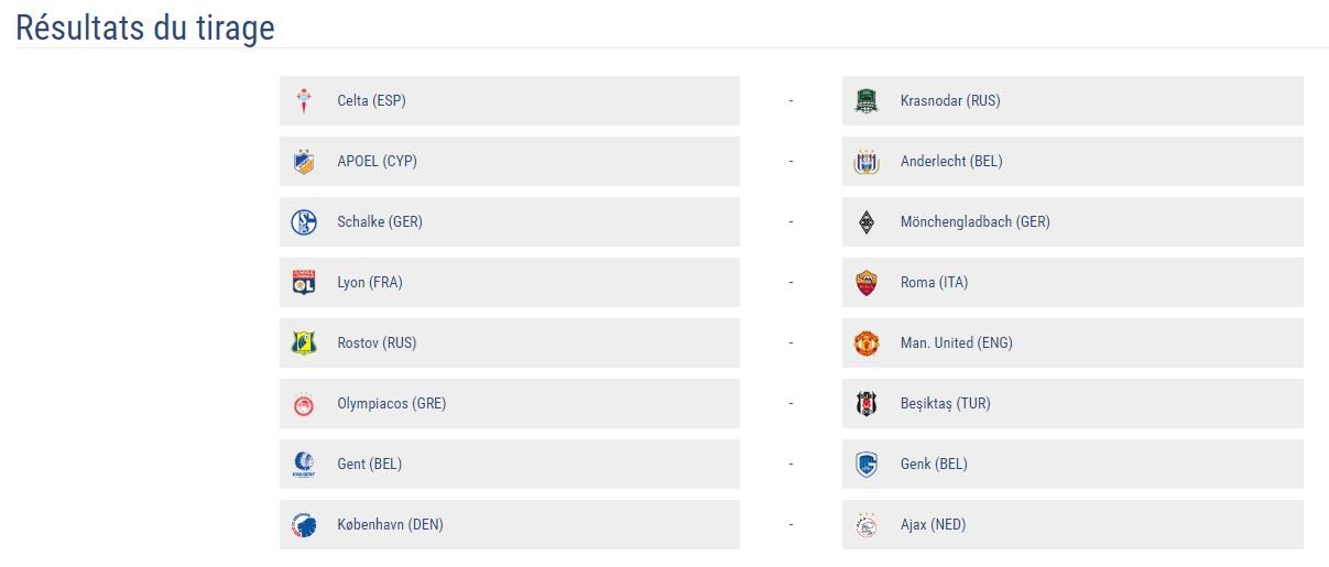 tirage 8es UEFA 2016-2017