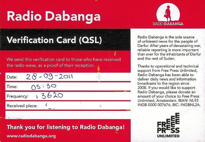 QSL Radio Dabanga 17030602193332947