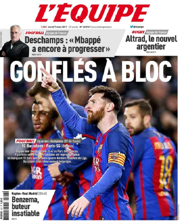 télécharger L'Equipe Du Mardi 7 Mars 2017