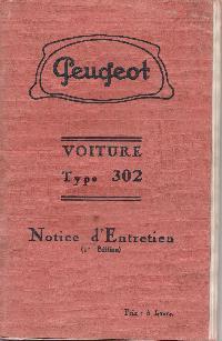 Notice d'entretien Peugeot 302 Mini_17031502593922570