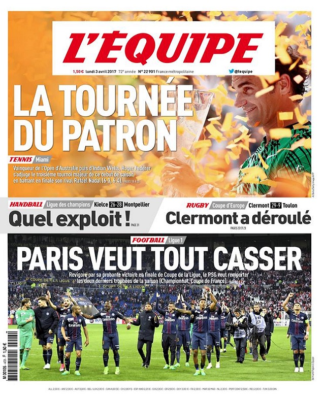télécharger L'Equipe Du Lundi 3 Avril 2017