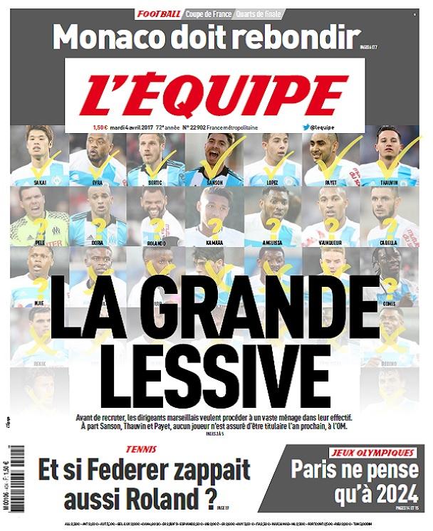 télécharger L'Equipe Du Mardi 4 Avril 2017