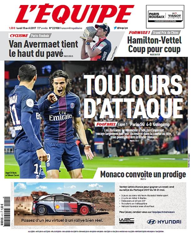 télécharger L'Equipe Du Lundi 10 Avril 2017