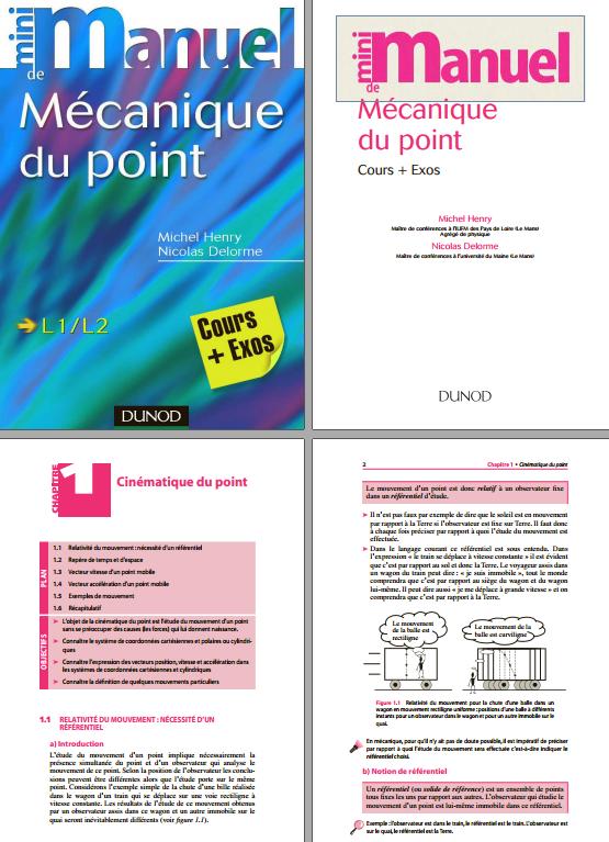 télécharger Mini Manuel de Mécanique du point : Cours et exercices corrigés. Dunod