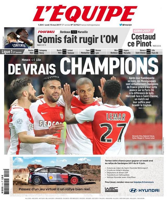 télécharger L'Equipe Du Lundi 15 Mai 2017