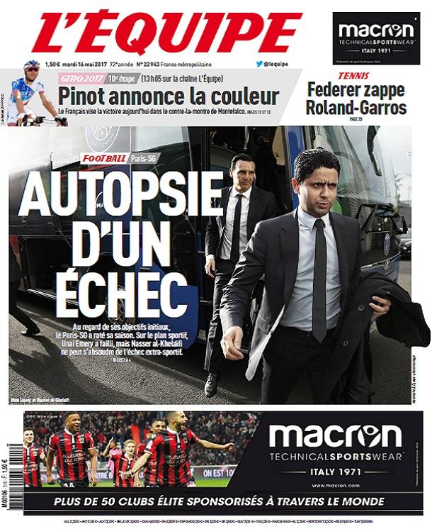 télécharger L'Equipe Du Mardi 16 Mai 2017