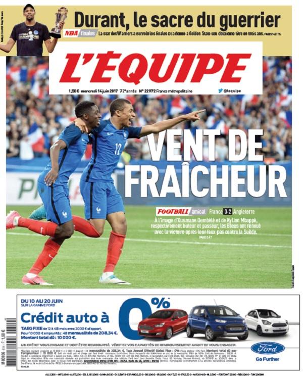 télécharger L'Equipe Du Mercredi 14 Juin 2017