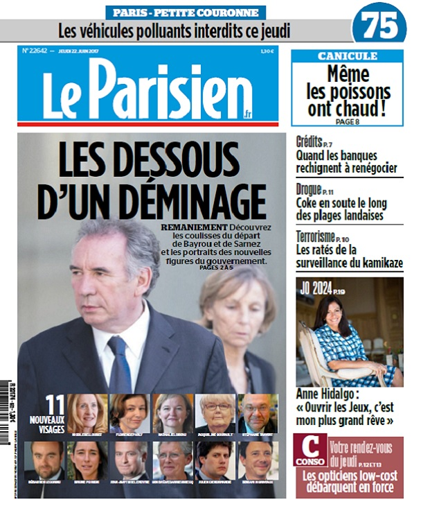 télécharger Le Parisien + Journal De Paris + Seine st Denis Du Jeudi 22 Juin 2017
