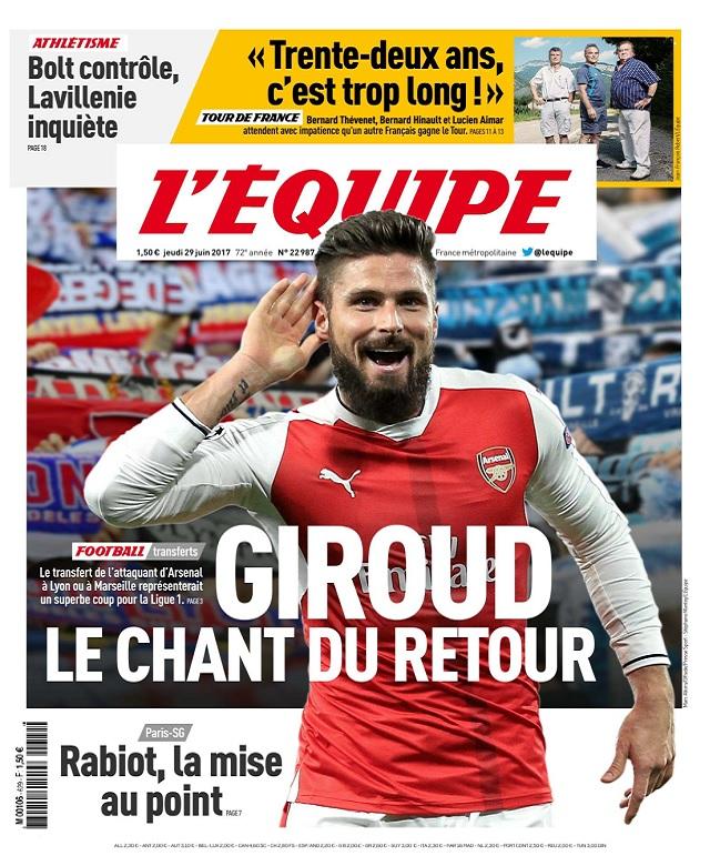 télécharger L'Equipe Du Jeudi 29 Juin 2017