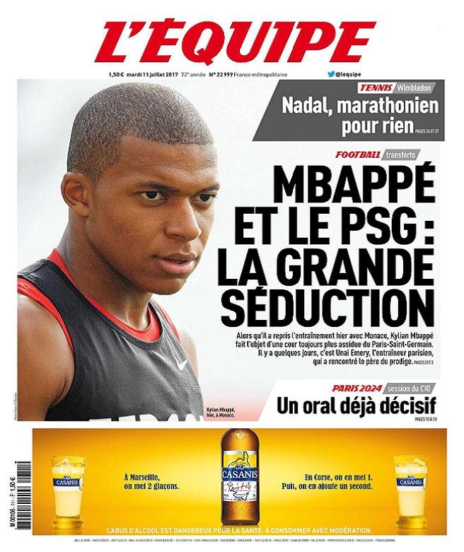 télécharger L'Equipe Du Mardi 11 Juillet 2017