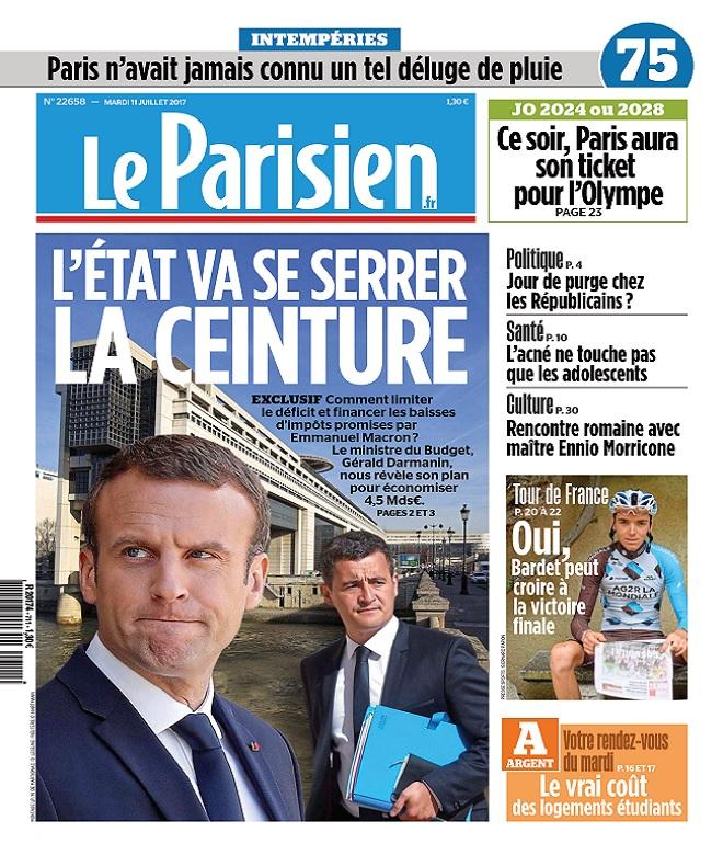 télécharger Le Parisien + Journal De Paris Du Mardi 11 Juillet 2017