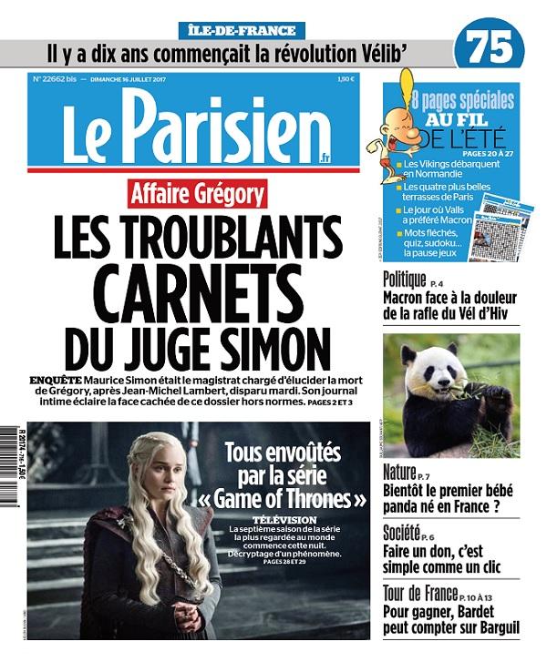Le Parisien Dimanche + Supp Ile De France Du 16 Juillet 2017