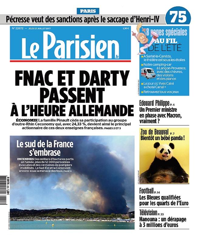 télécharger Le Parisien + Journal De Paris Du Jeudi 27 Juillet 2017