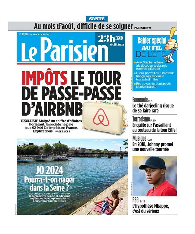 télécharger Le Parisien Du Lundi 7 Août 2017