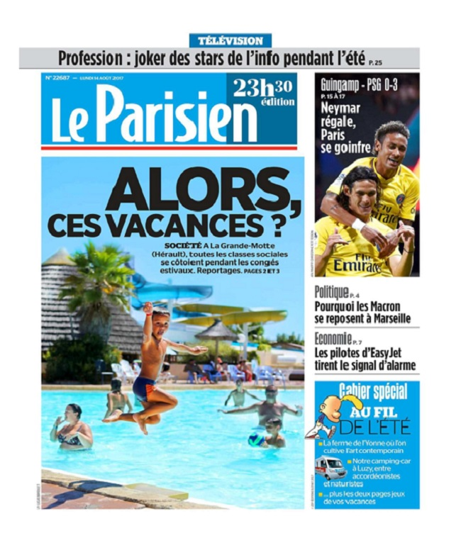 Le Parisien Du Lundi 14 Août 2017